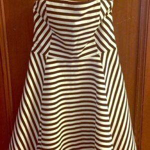 Express Strapless Fit & Flare B&W Striped Dress